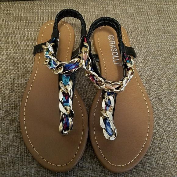 b609216e291f61 NIB Rasolli Gold Chain Rainbow Braided Sandals